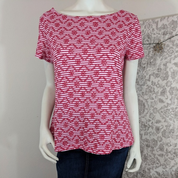 Anthropologie Postmark Red Striped Embroidered Tee